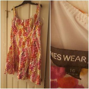Jones wear dress pink and yellow